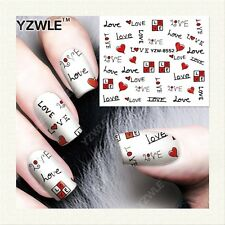 Valentines Nail Art Water Decals Stickers Black Red Love Hearts Gel Polish 8552