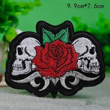 "Rose skulls Iron on Sew on Embroidered Patch Applique Badge Motif 3.0"" X 4.0"""
