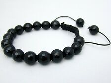 Men's Shamballa bracelet all 10mm BLACK STONE BEADS