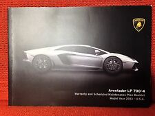 LAMBORGHINI AVENTADOR LP 700-4 WARRANTY MAINTENANCE BOOK (NO OWNERS MANUAL) 2013