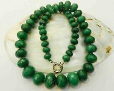 """10-18mm Natural Emerald Faceted Gems Roundel Beads Necklace 19"""""""