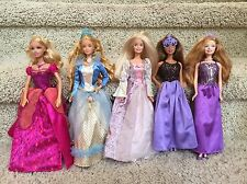 5 Dolls Barbie Fairytale Princesses - Diamond Castle, Sleeping Beauty, Rapunzel