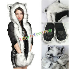 White Wolf Full Animal Hood Hoodie Hat Faux Fur 3 in 1 Function