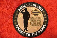 "HARLEY ""SALUTES THOSE WHO SERVE & SACRIFICE "" PATCH - MILITARY FIRST RESPONDERS"