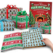 Super Awesome Christmas Wrapping Paper Book Gift Wrap Happy Holiday Funny New