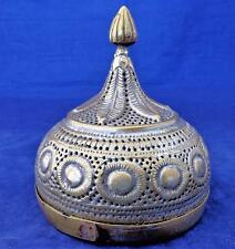 Antique Indian Brass Onion Form Pandan Areca Betel Nut Box Leaf Pierced 19th C