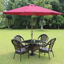 8ft Parasol Patio Outdoor Table Sun Shade Umbrella Market Yard Beach Crank Tilt
