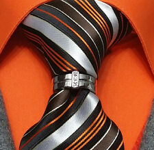 MENS NECK TIE RING CLASP CHARM TACK PIN EURO T BOSS WEDDING GROOM GIFT WHITE K
