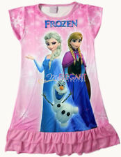 Disney Elsa Anna Olaf Children Kids Girls Dress Pajama Skirt Nightwear 6-8Y Pink