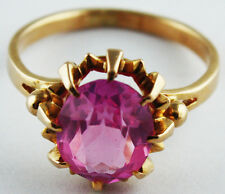 Vintage Soviet Solid Rose Gold ring 14K 583 Pink Ruby 3.5 gr Russian USSR size 6