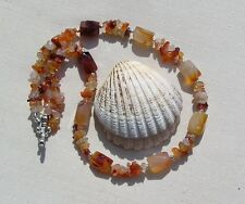 "Orange Carnelian Crystal Gemstone Chunky Statement Necklace ""Valour"""