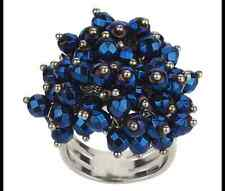 STERLING SILVER BLUE FACETED HEMATITE BEADS CLUSTER RING SIZE 6 QVC SOLD OUT
