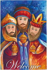 NEW LARGE EVERGREEN DOUBLE SIDED WELCOME CHRISTMAS FLAG THREE WISE MEN 29 x 43