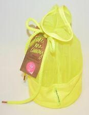 VICTORIA'S SECRET YELLOW MESH DRAWSTRING BEAUTY COSMETIC BAG TRAVEL SHOWER POUCH