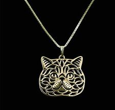 Exotic Shorthair Cat Pendant Necklace -  Fashion Jewellery - Gold Plated