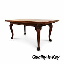 Antique Edwardian Style Carved Walnut Extension Refectory Dining Banquet Table