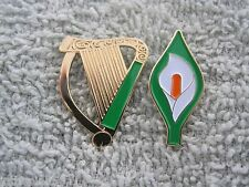 "Easter Lily & Irish Harp Badge 2 Pc Pin Set Ireland Tri/Color Lily New 1"" Size"