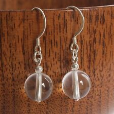 Solid 925 Sterling Silver Hook Earrings with round Rock Crystal Bead & FREE GIFT