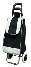 Black/White Folding Lightweight Wheeled Grocery Cart Shopping Trolley Bag