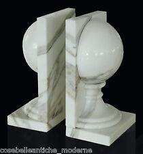 Ferma Libri Libro Marmo Bianco Calacatta con semisfere Classic Marble Bookends