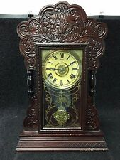 Waterbury Clock Company Vintage Ginger Bread Wood-Cased Mantel Clock