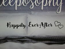Sleeposophy HAPPILY EVER AFTER Two Coordinating Standard Pillowcases ~ Black NEW