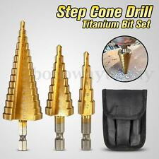 3pcs Large HSS Steel Step Cone Drill Titanium Bit Set Hole Cutter 4-12/20/32mm T