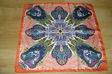 "Hand made Macclesfield silk pocket square 18"" hand rolled red orange purple"