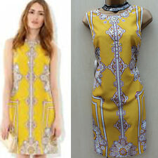 MONSOON Yellow Ochre Oriental Aisha Cocktail Party Shift Dress 12 UK