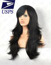 Long Cosplay Party Fashion Women Heat Resistant Curly wavy Black Full Hair Wig