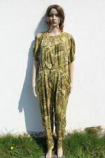 Vintage 1990s Jungle Leaf Print Green Viscose Jumpsuit Catsuit Grunge 14-16
