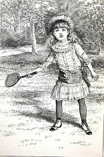 Victorian Girl Child w TENNIS RACKET to COURT PLAY 1884 Antique Art Print Matted