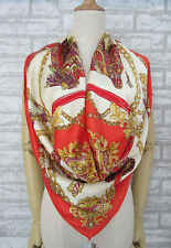 Woman's Cream&Red Harness Large 100% Silk Satin Square Scarf 35""