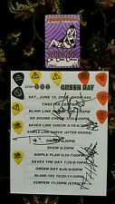 GREEN DAY BLINK 182 AUTOGRAPHED  SIGNED TOUR SHEET 11 GUITAR PICK S & DRUMSTICKS