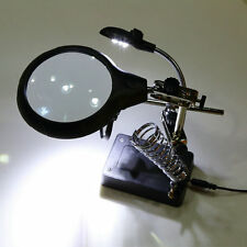 5 LED Hands Free Magnifier Adjustable Magnifier Lamp Useful Magnifying Glass BE