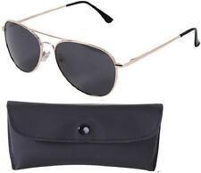 GOLD/SMOKE Aviator Sunglasses Air Force Style Polarized w/ Case - 58 MM 22309