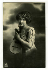 1910's Pinup Glamour BEAUTY w/ MANDOLIN Musical Music photo postcard