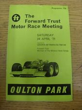 24/04/1971 Motor Racing Programme: The Forward trust Motor Race Meeting [At Oult