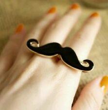 Anillo ajustable bigote para mujer dos dedos. Negro y oro tono vendedor del Reino Unido