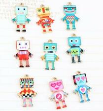 12pcs color robot mixed Metal Charms pendants DIY Jewellery Making crafts 22mm