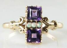 LOVELY  9K GOLD ART DECO INSP AMETHYST & AUS OPAL RING