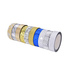 10M Glitter Silver Gold Washi Tape Paper Self Adhesive Stick On Sticky Craft Top