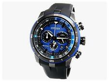 Citizen Eco-Drive CA4155-04L Men Black Rubber Strap Blue Dial Date Analog Watch
