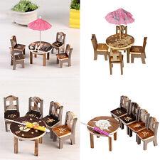 Miniature Fairy Wooden Desk Chair Umbrella Dollhouse Garden Home Ornament Decor