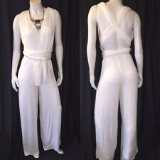 New Convertible Wraped Multi Wear  Wide Leg Cream Jumpsuit Size Small