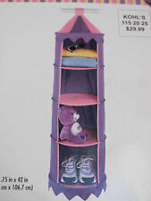 NEW MIP Hanging Circus Organizer, Pink & Purple Canvas with Circus Top 4 shelves