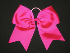 "NEW ""HOT PINK"" Cheer Bow Pony Tail 3 Inch Ribbon Girls Hair Bows Cheerleading"
