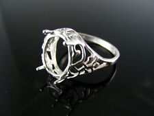 R72  RING SETTING STERLING SILVER, SIZE 8, 12X10 MM OVAL STONE