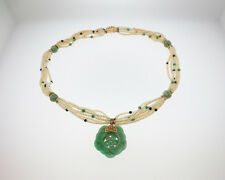 "Vintage Estate Green Jade Seed Pearls Solid 14k Yellow Gold Pendant 21"" Necklace"