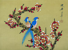 "Chinese silk painting birds flowers 15x11"" gongbi art brush ink traditional"